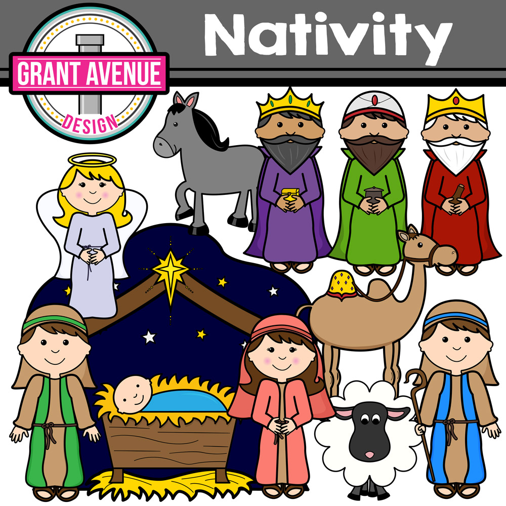 Grant avenue design nativityclipartchristmasstory. Nativity clipart vector free library