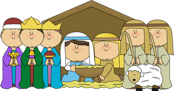 Nativity clipart christmas pageant. Baby scene with shepherds