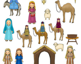 Nativity figures. Free cute cliparts download