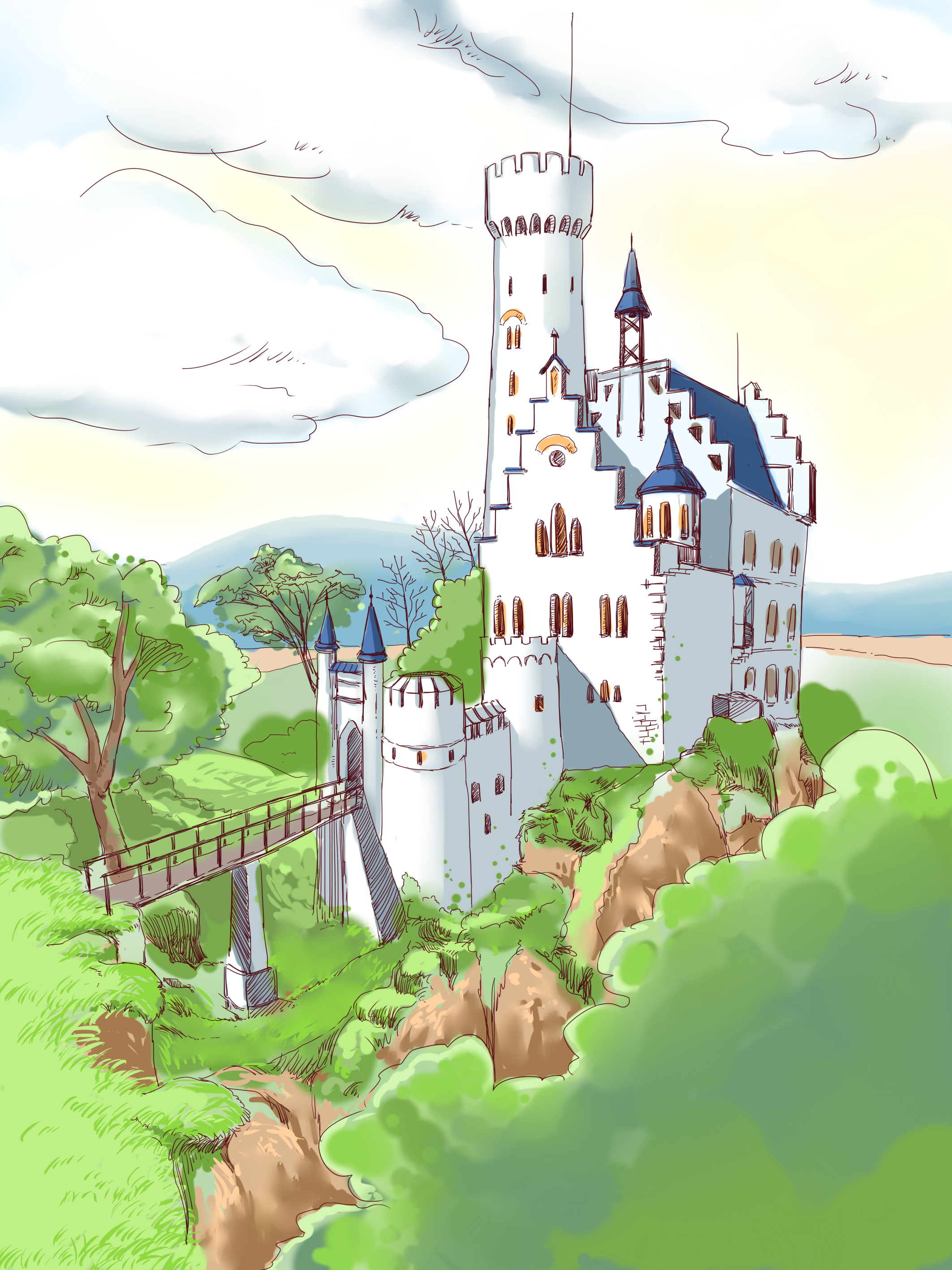 Natural drawing cartoon. Forest castle painted transprent