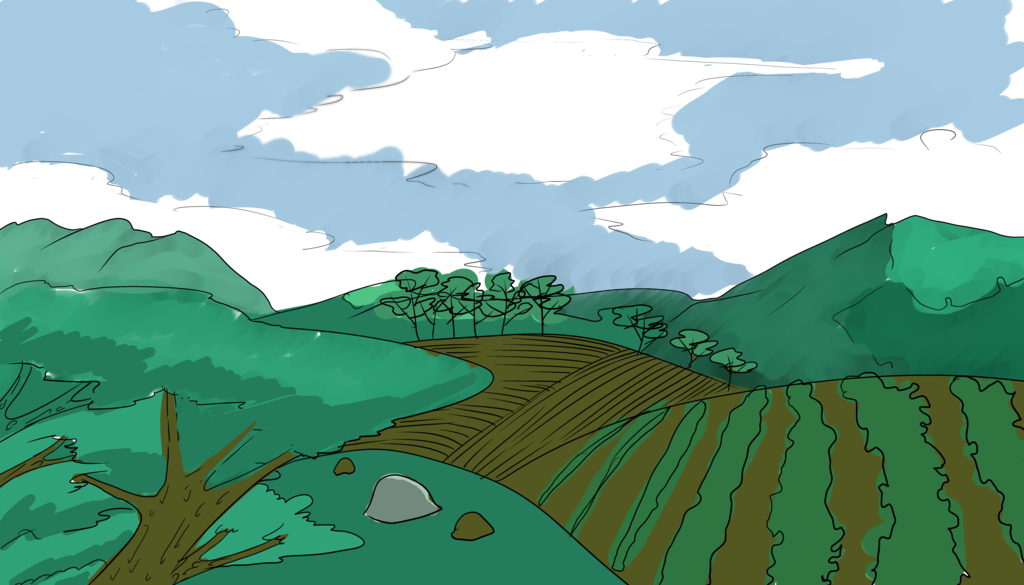 Natural drawing cartoon. Landscape doodle by octacoon