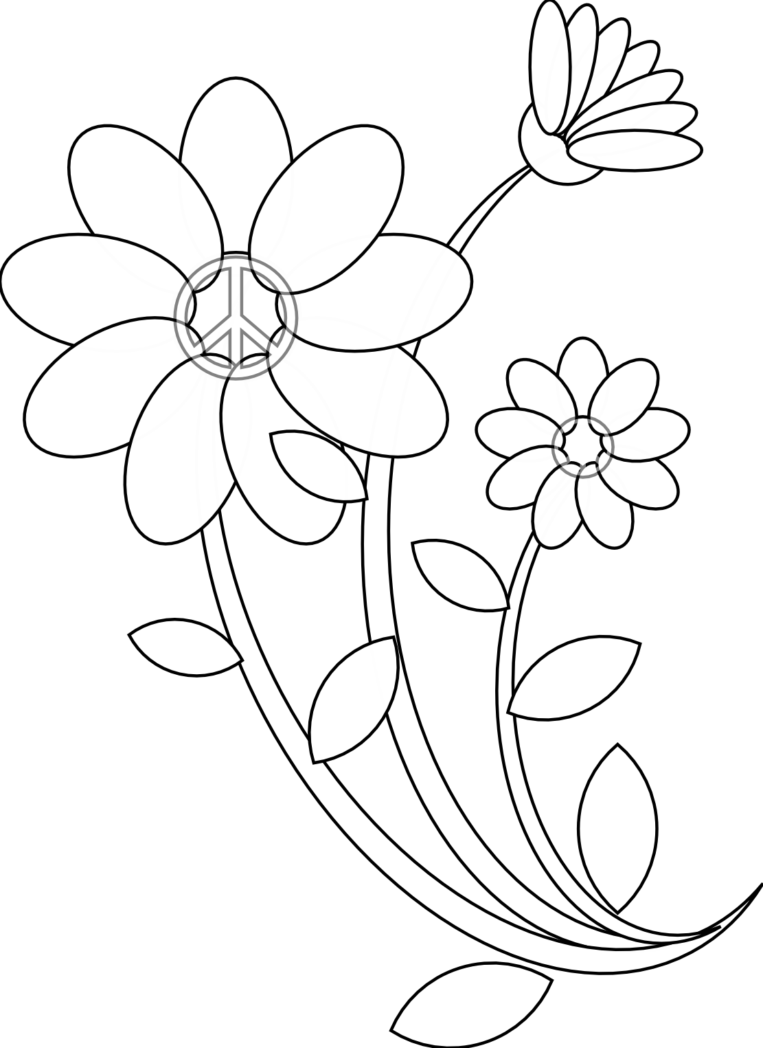 Embroidery drawing black and white. Line art drawings flowers