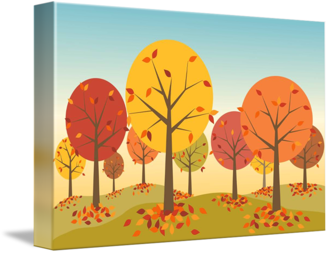 Natural drawing scene. An autumn by