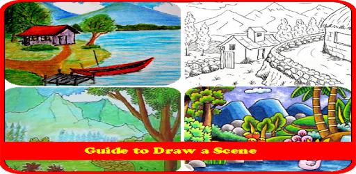 Natural drawing scene. How to scenery apps