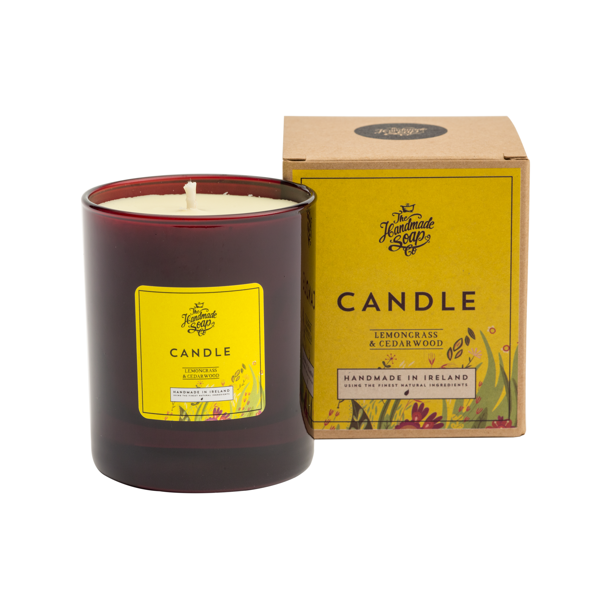 Natural soy wax candles png. Candle scented with lemongrass
