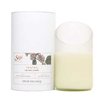 Transparent candles clear background. Tantra natural soy wax