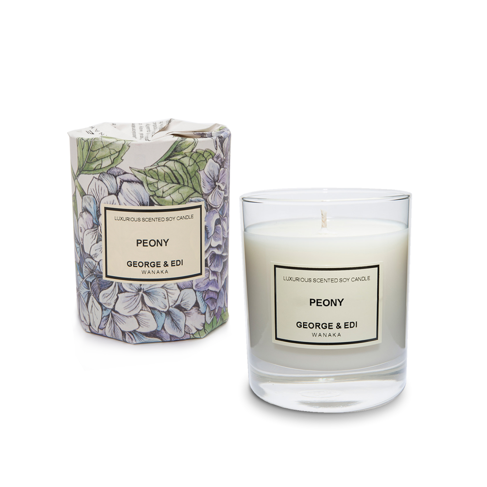 Natural soy wax candles png. Peony perfumed candle scented