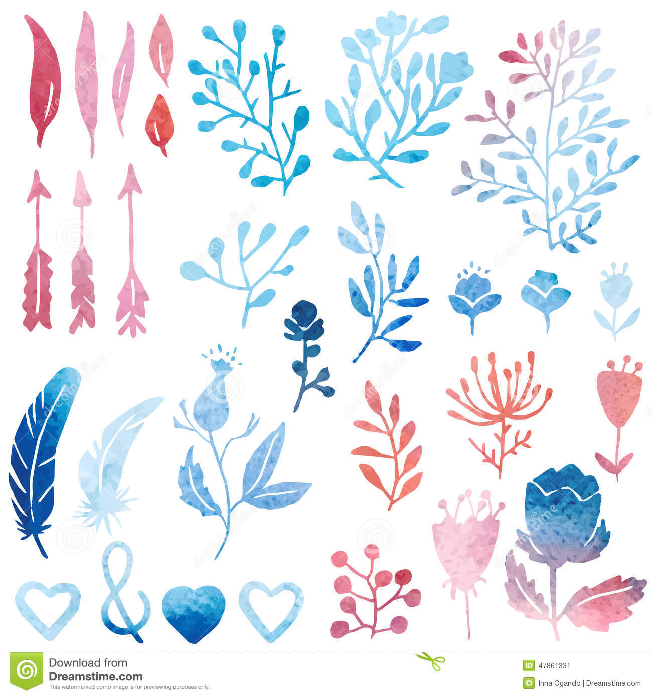 Nature clipart birthday. Watercolor clip art stock jpg black and white stock
