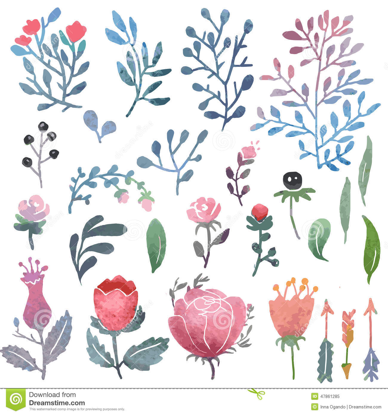 Nature clipart birthday. Watercolor clip art stock png black and white library