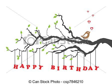 Happy card with bird. Nature clipart birthday graphic