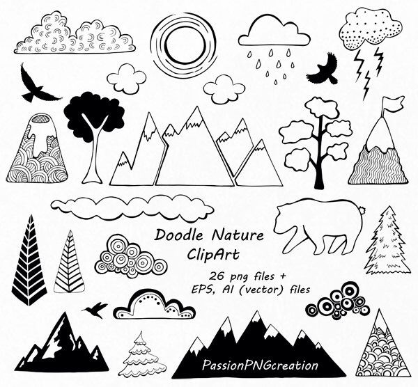 Nature clipart doodle. Hand drawn mountain clouds