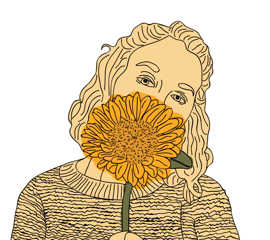 Girl sunflower drawing sketch. Nature clipart doodle transparent stock