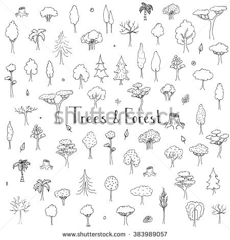 Nature clipart doodle. Hand drawn trees forest jpg freeuse stock