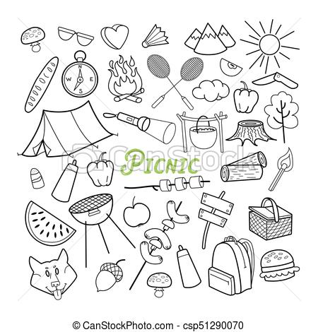 Picnic hand drawn outdoor. Nature clipart doodle stock