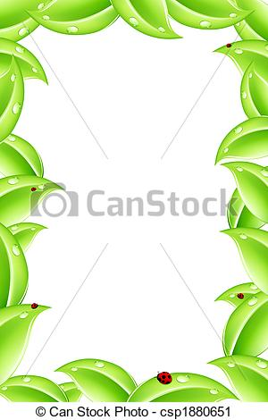 Nature clipart frame. Abstract with green leafs clipart