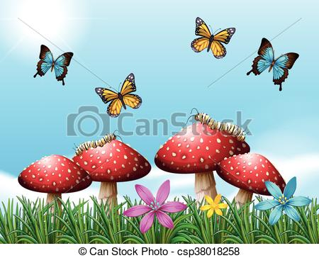 Nature clipart garden. Scene with butterflies in black and white stock