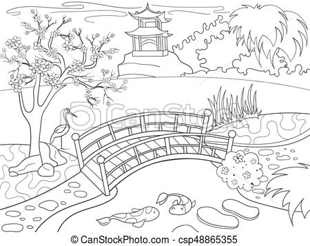 Of japan coloring book. Nature clipart garden jpg freeuse download