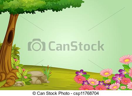Scene illustration of beautiful. Nature clipart greenery png freeuse