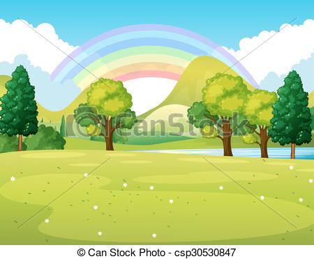 Nature clipart park. Scene of a with clip black and white