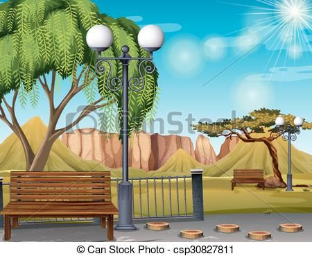 Nature clipart park. Scene with and trees free library