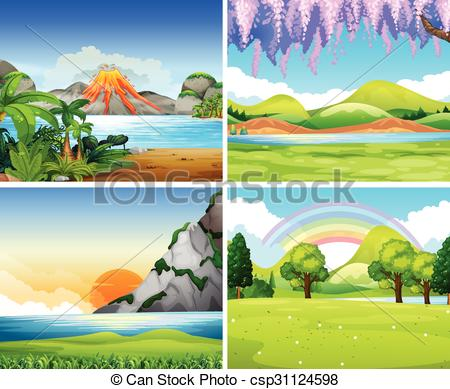 Nature clipart park. Four scenes with lake svg library library