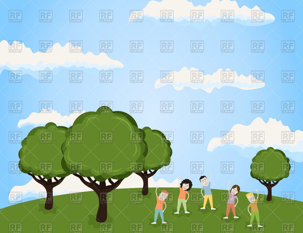 People doing sport in. Nature clipart park clipart free