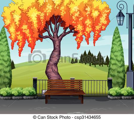 Nature clipart park. Scene with tree in clipart stock
