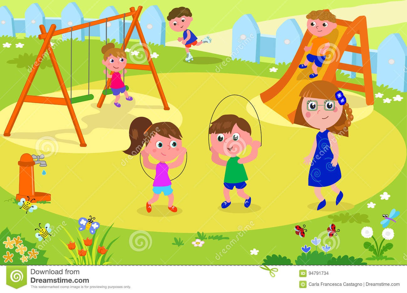 Nature clipart playground. Kids playing park adult image stock