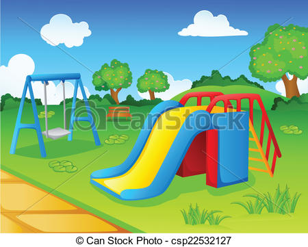 Vector illustration of play. Nature clipart playground graphic library