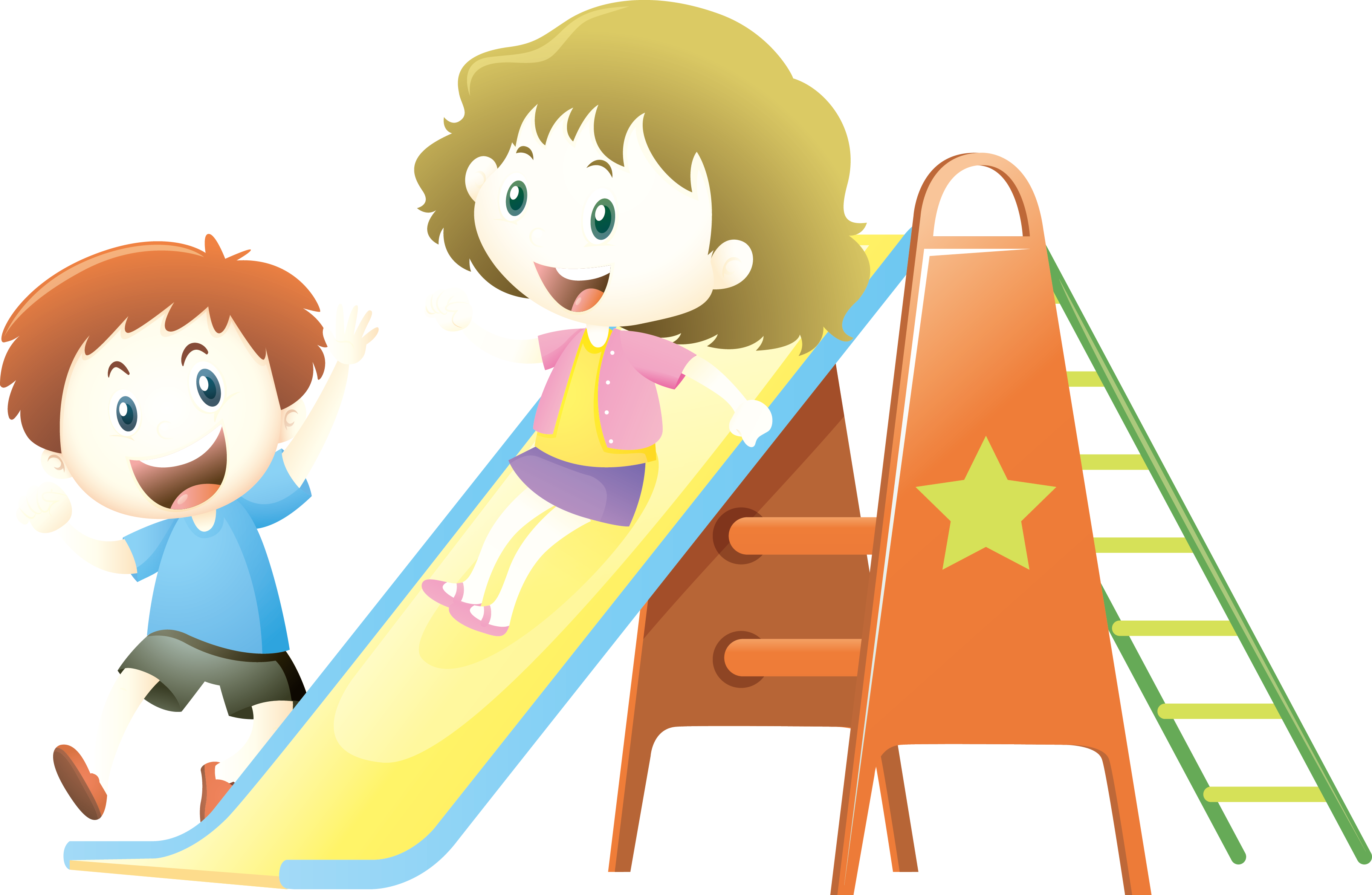Child slide illustration kids. Nature clipart playground graphic stock
