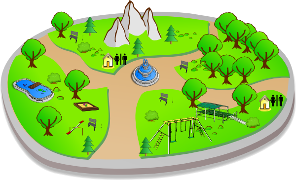 Park clipart green park. Country scene clip art