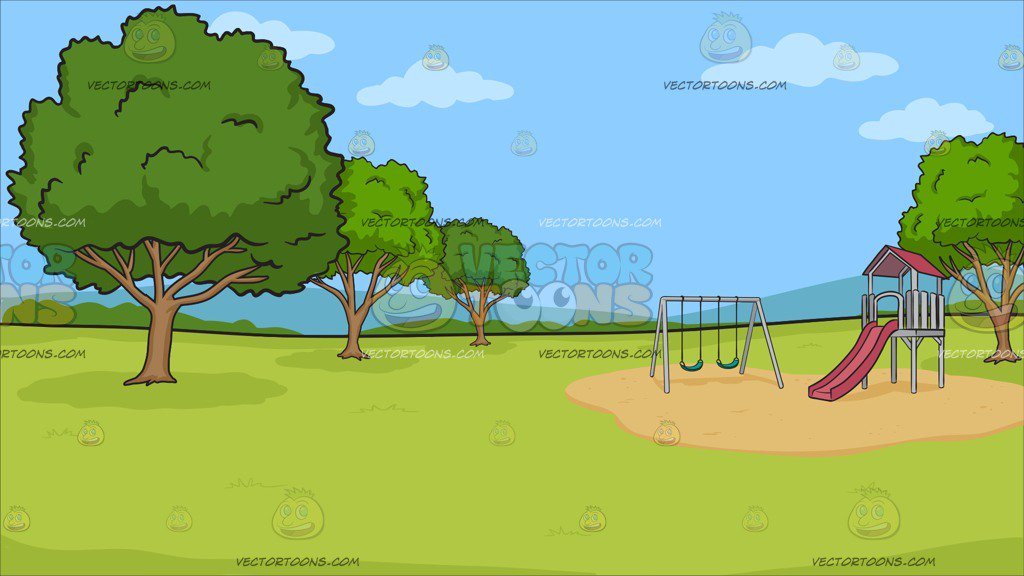 A park with slide. Nature clipart playground banner royalty free