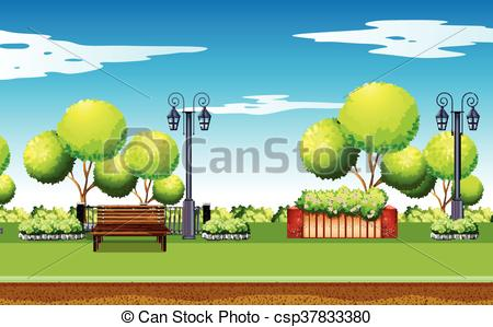 Park scene with trees. Nature clipart playground svg free library