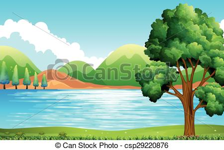 Nature clipart playground. Lake and park scene picture library library