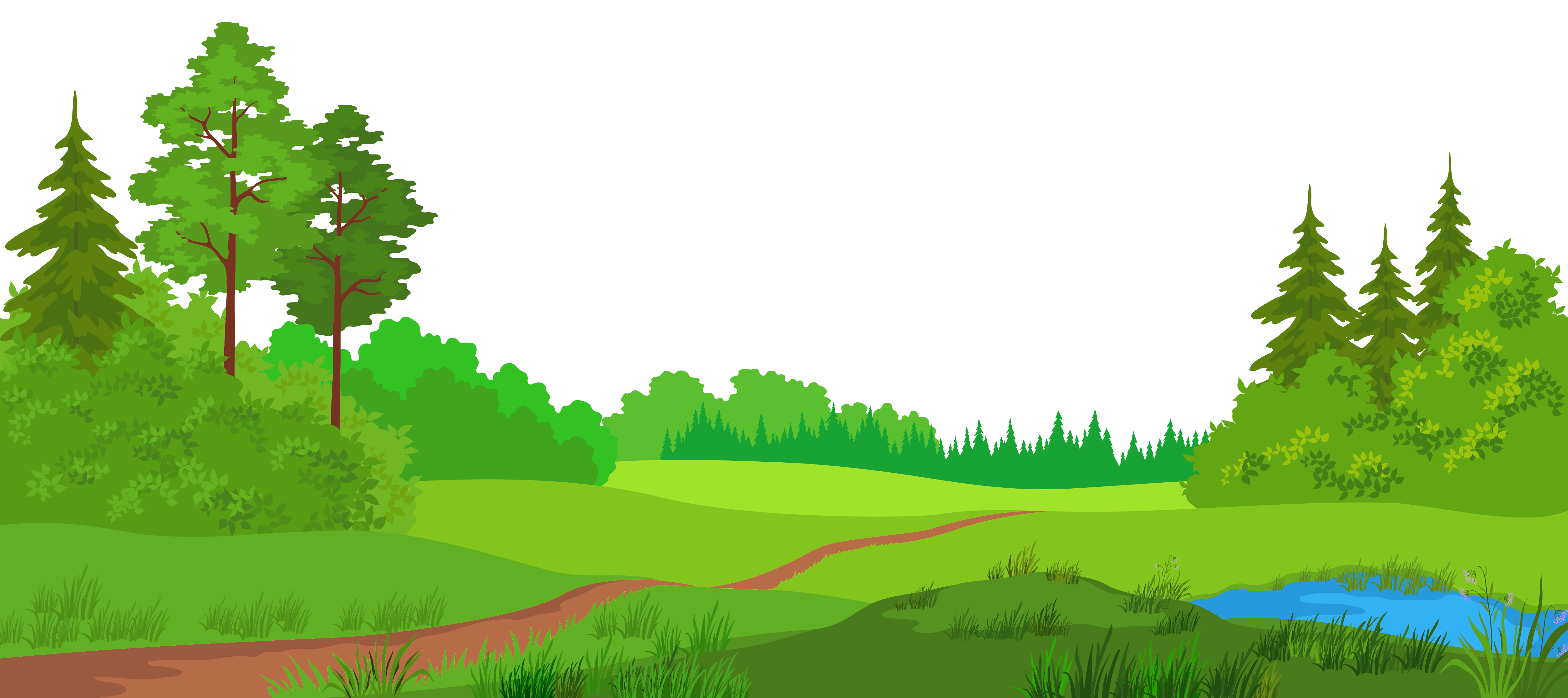 Meadow with trees picture. Nature clipart png clipart black and white stock