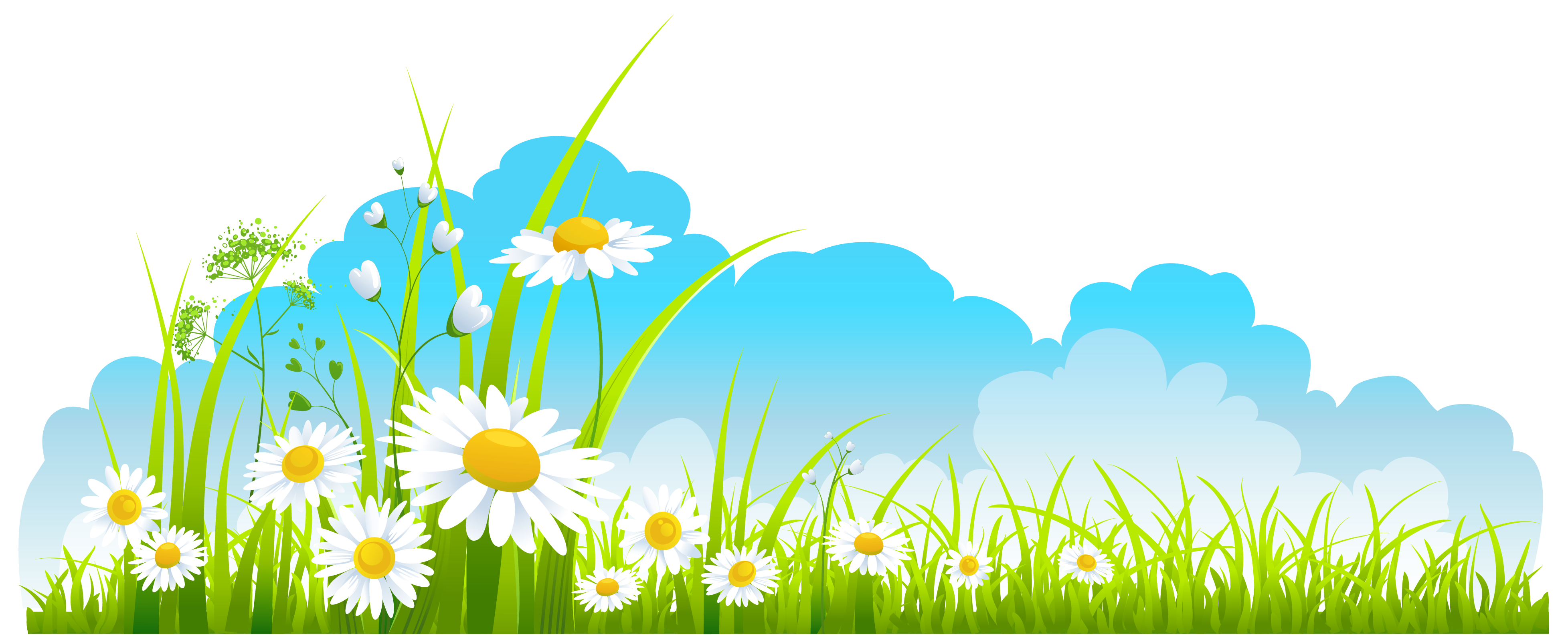 Nature clipart spring. Decor sky grass and