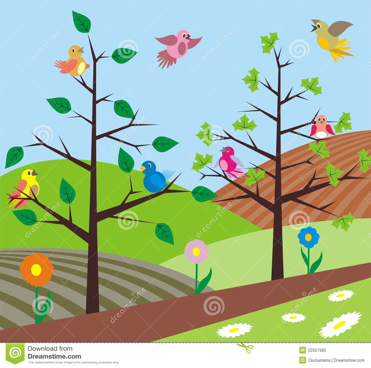 Nature clipart spring. Birds singing stock vector banner freeuse stock