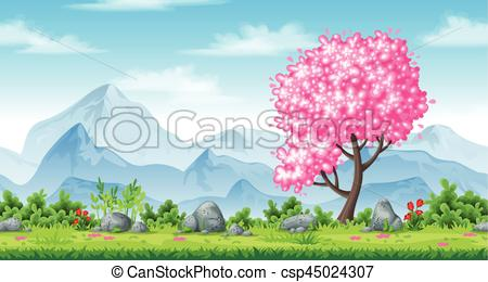 Seamless background with mountains. Nature clipart spring graphic stock