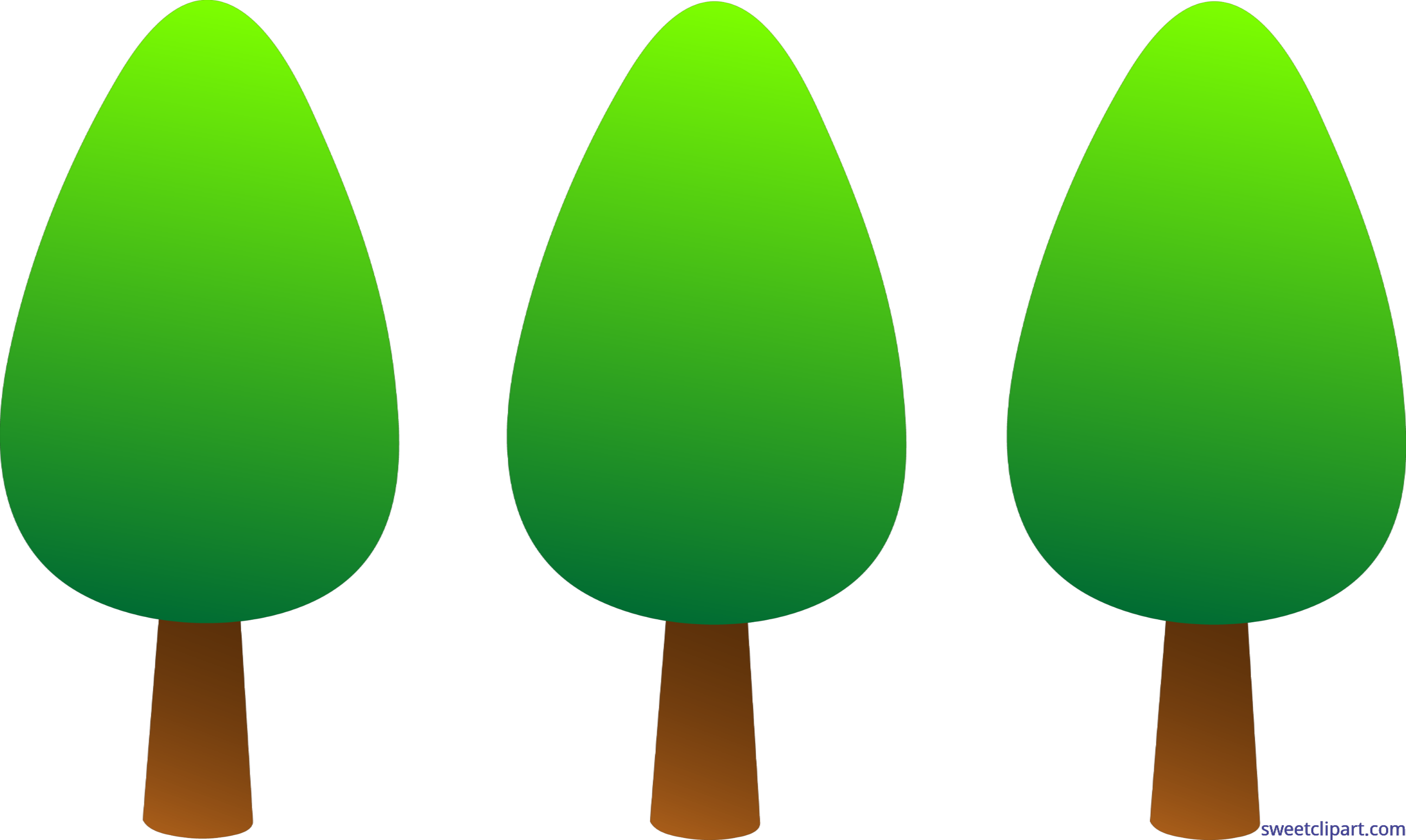 Trees simple set clip. Nature clipart tree vector free stock