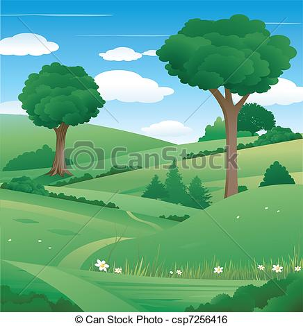Landscape with. Nature clipart tree clip art free