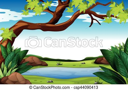 Scene with and pond. Nature clipart tree clip transparent stock