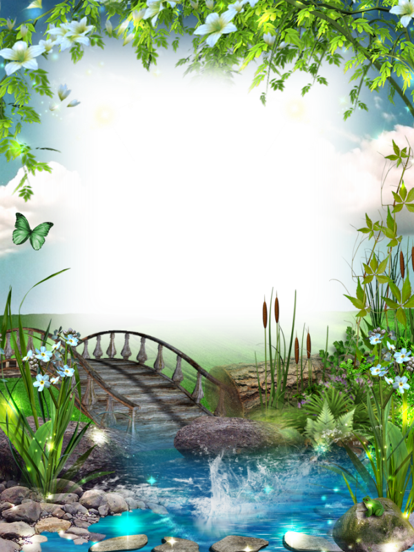 Nature frame png. Transparent photo with bridge