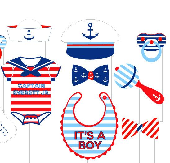 Nautical clipart nautical baby shower. Photo booth props personalized