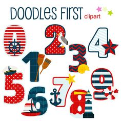 Nautical clipart number. Numbers set ideal for