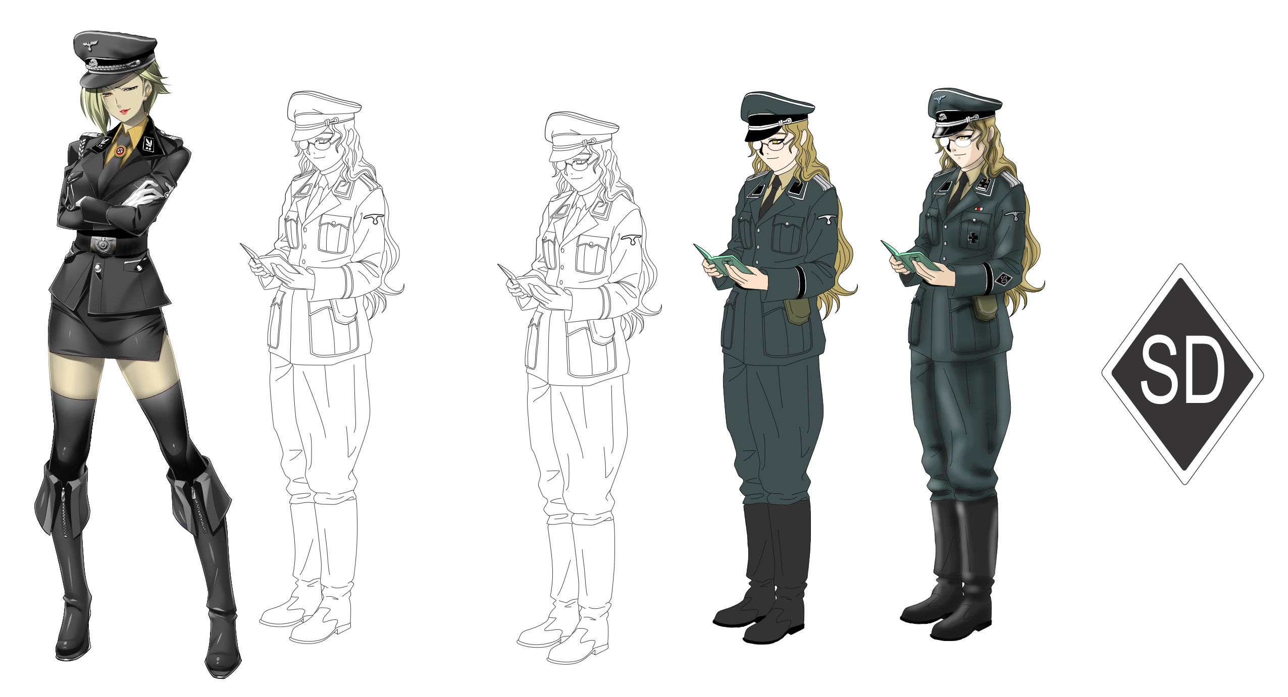 Nazi soldiers color png. Anime sd officer extra