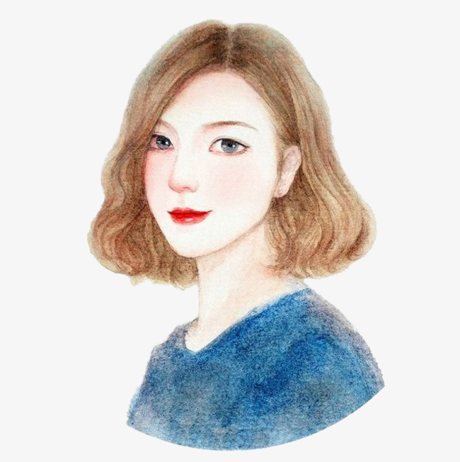 Neck clipart girl short hair. Watercolor profile png image