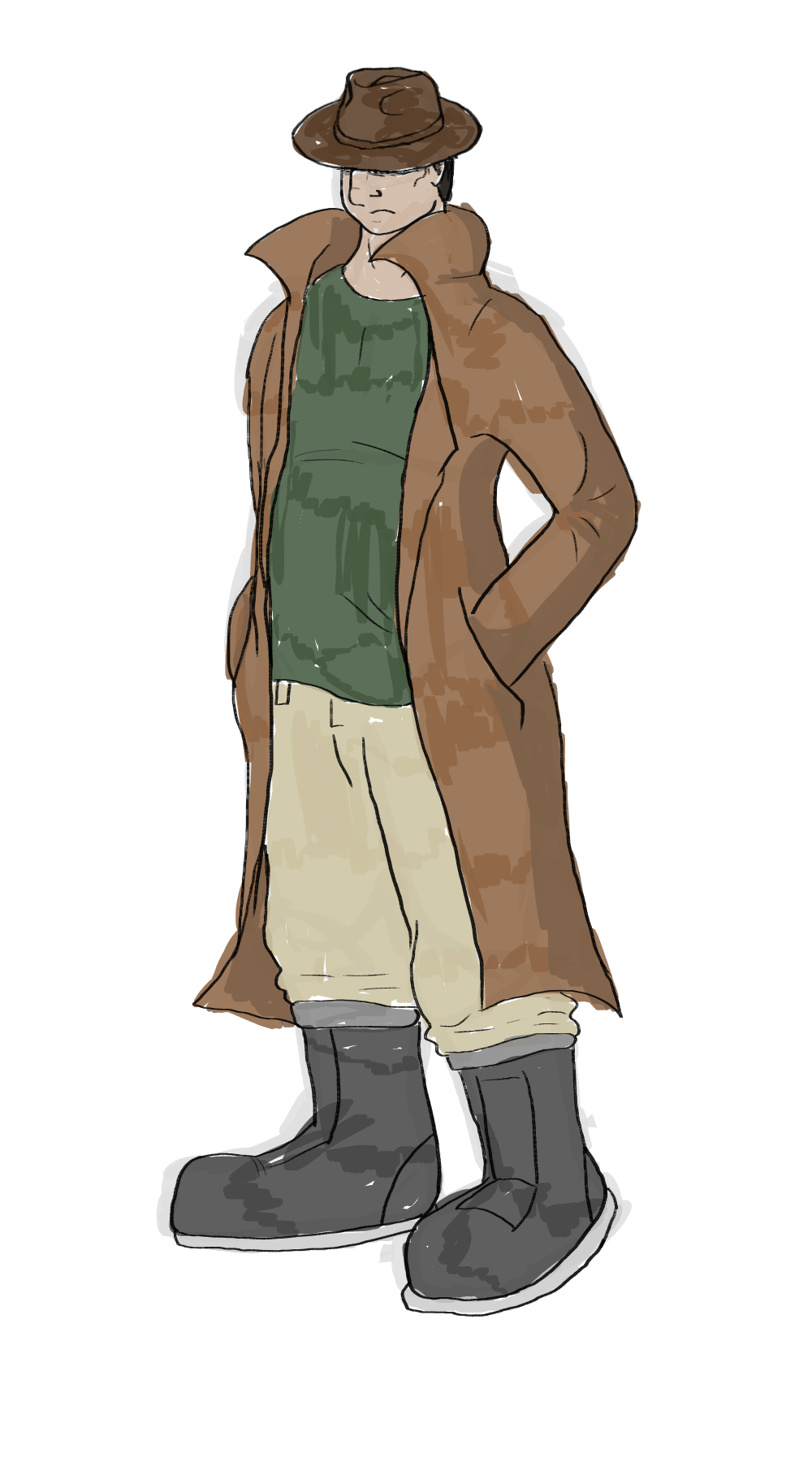 Neckbeard drawing trench coat. Agentdrako commission guy by