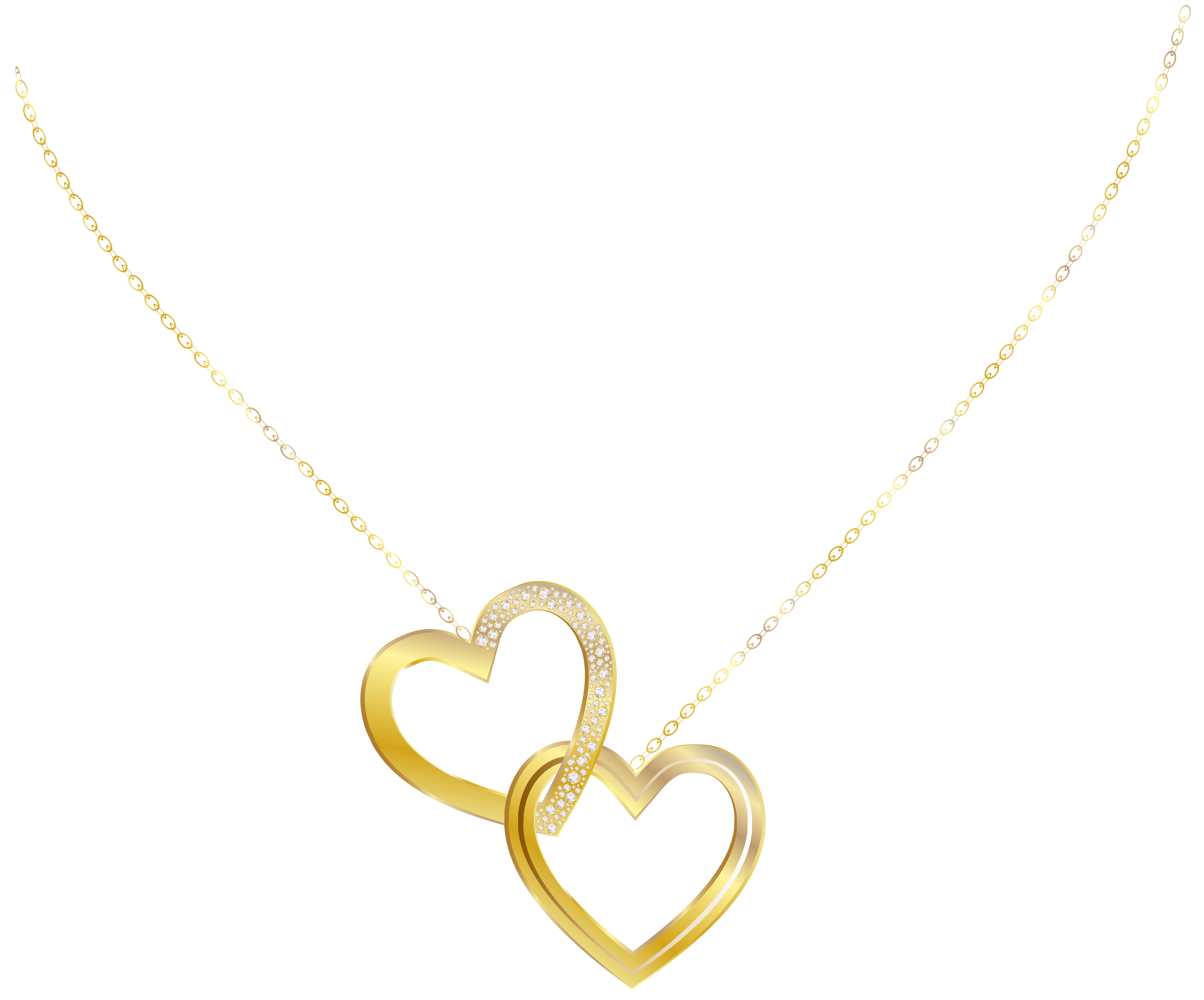 Gold heart necklace png. Jewelry clip graphic black and white