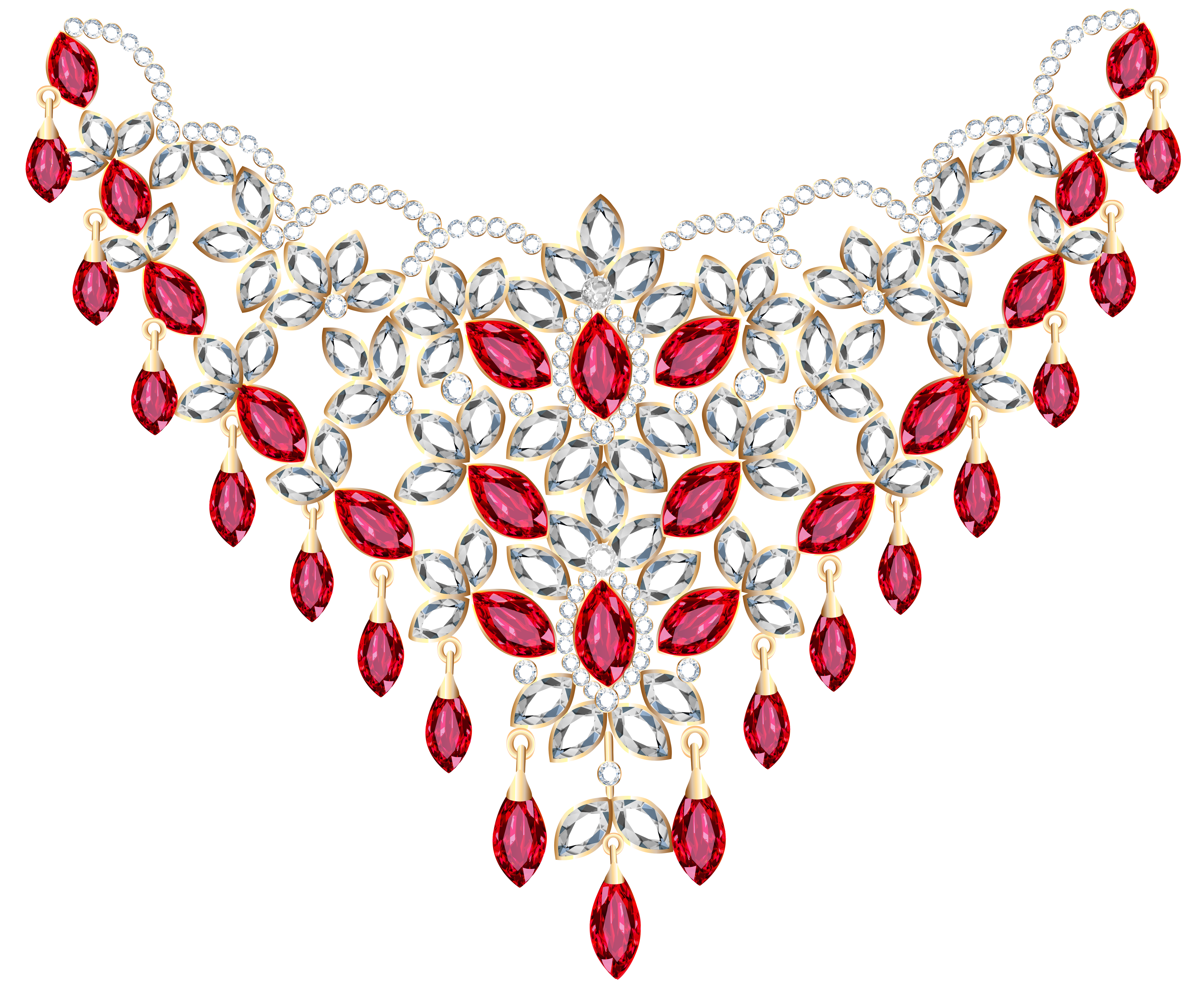 Necklace png transparent background. Diamond and ruby clipart