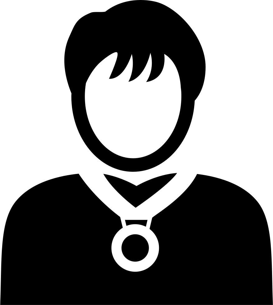 Necklace svg male. Person with medal png
